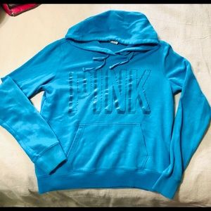 #0146.  VS PINK AQUA COLOR PULL OVER HOODIE